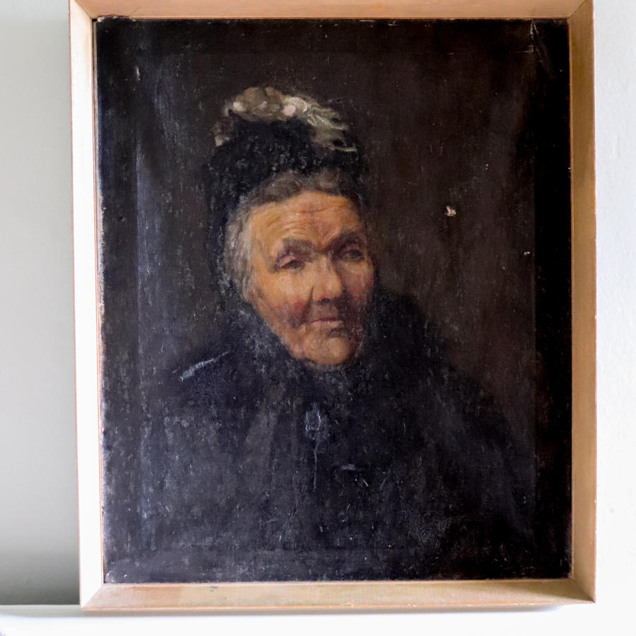 19th century framed oil portrait of lady