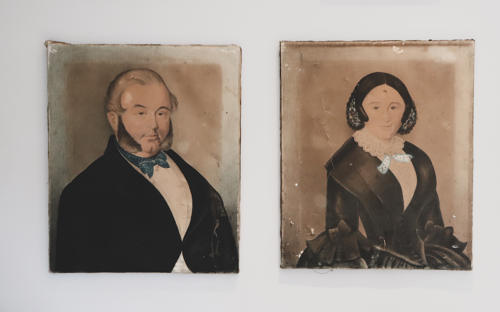 Pair of watercolour portraits of gentleman and lady