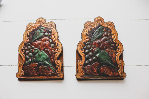 Victorian embossed leather bookends