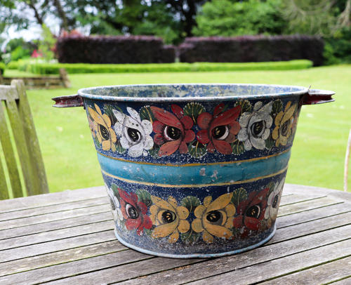 Galvanised tin planter with floral painting