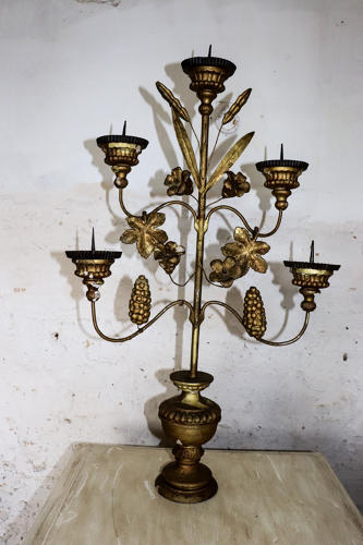 Early 19th century German giltwood and metal candelabra