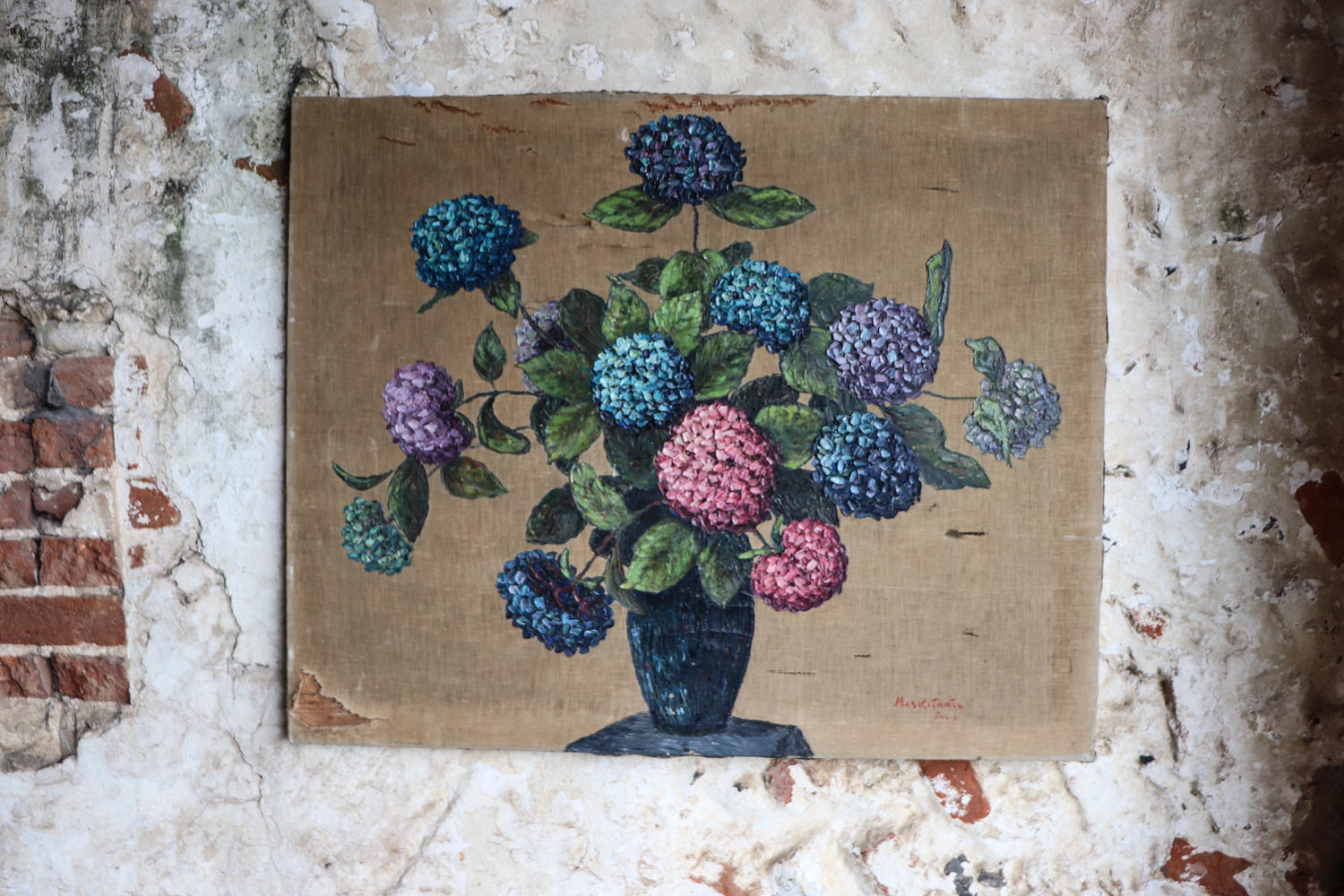 Hydrangea oil painting on canvas