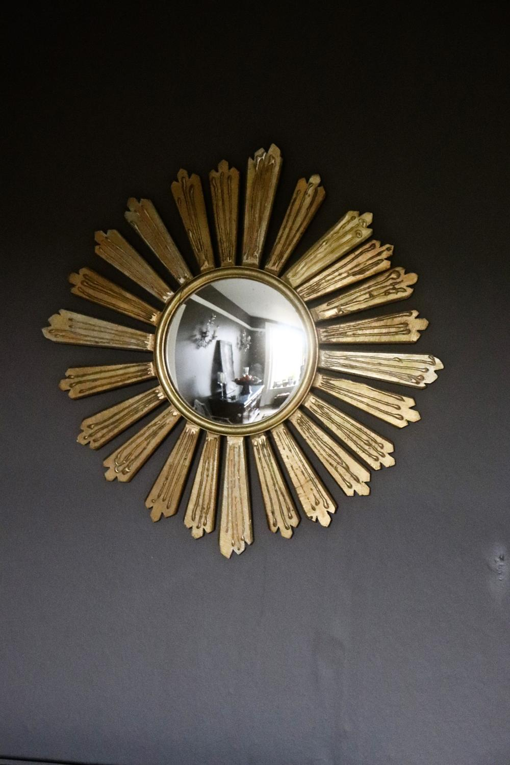 French 1950's wooden sunburst mirror