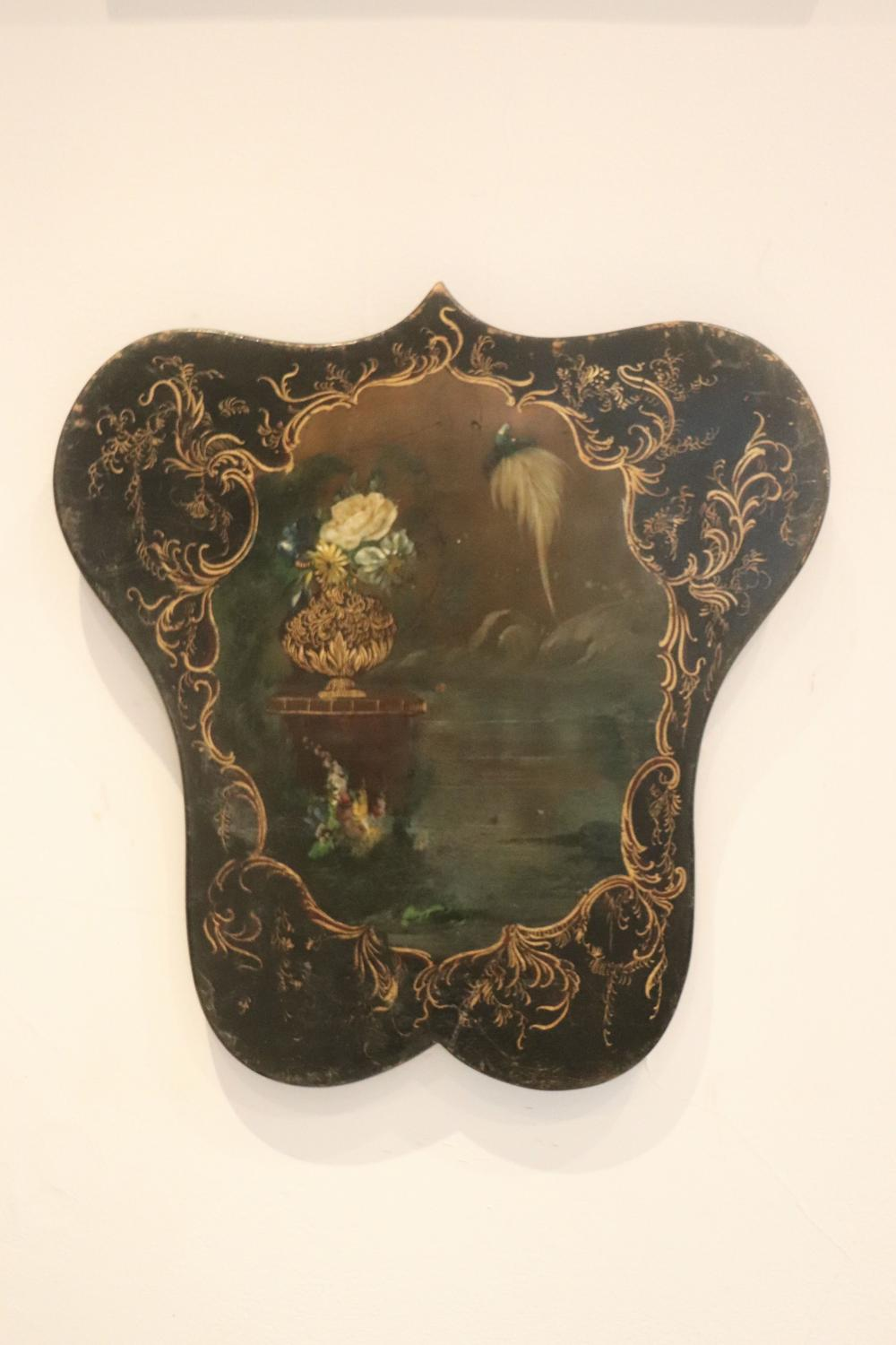 Lacquered fire screen depicting bird and flowers