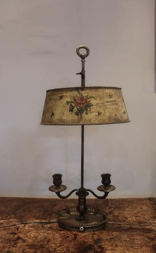 Early 20th century tôleware lamp/candleholder