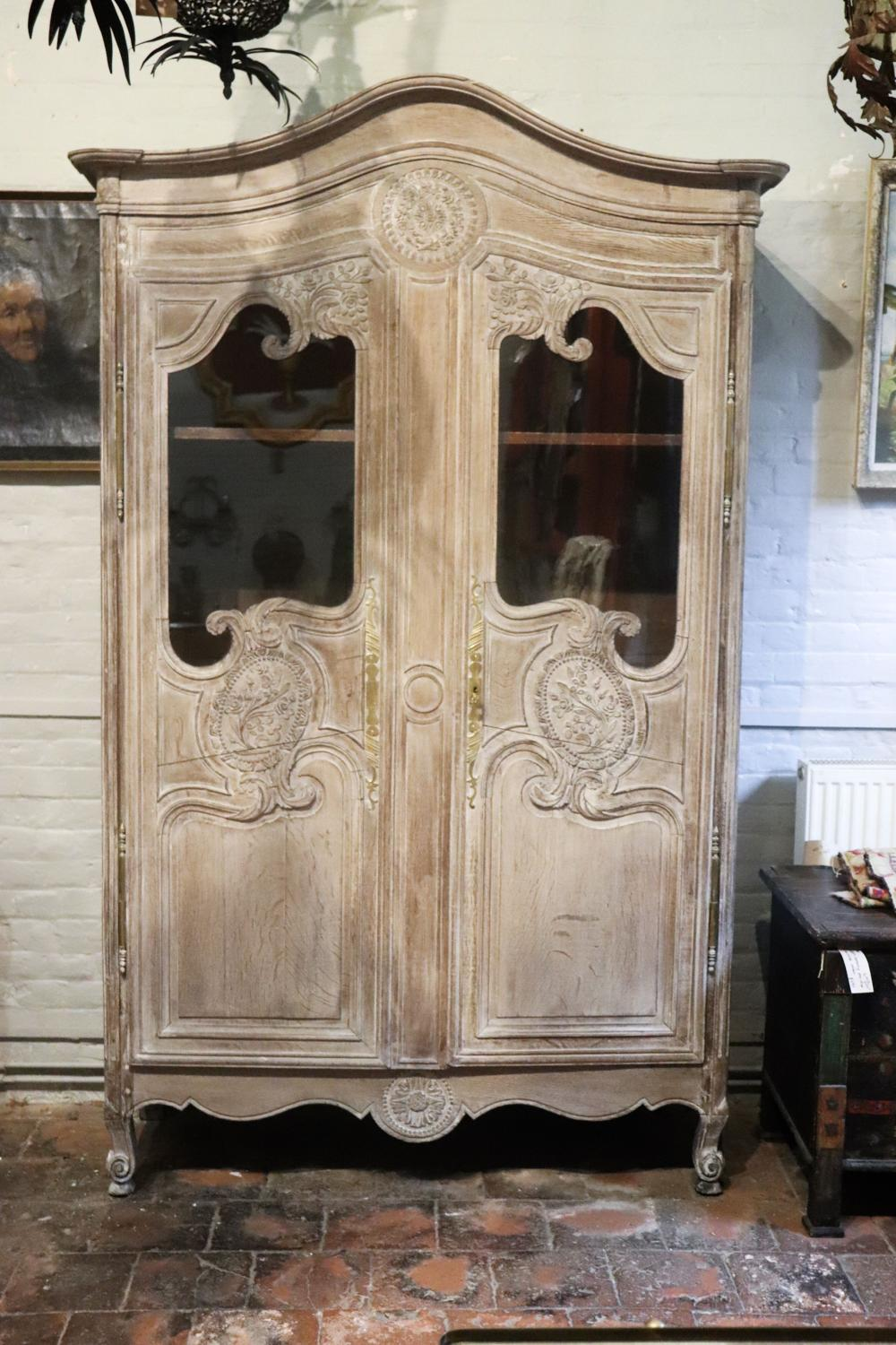 19th century limed oak glazed armoire