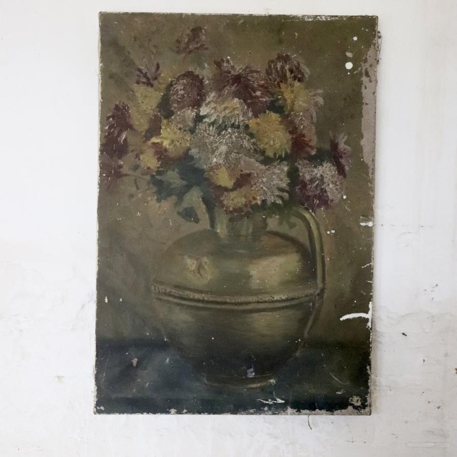Mid century floral oil painting