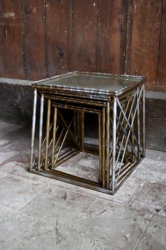 Metal coffee tables with distressed mirrored tops