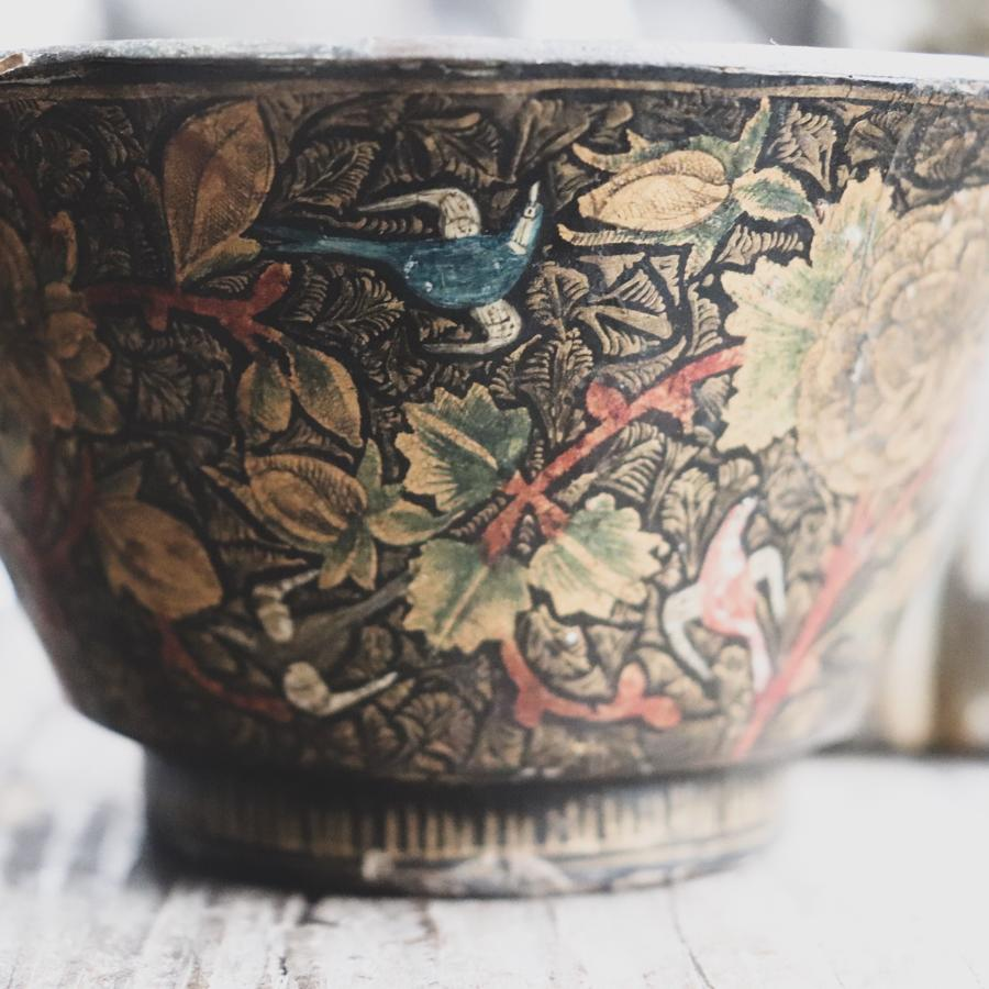 Kashmiri bowl decorated with birds and flowers