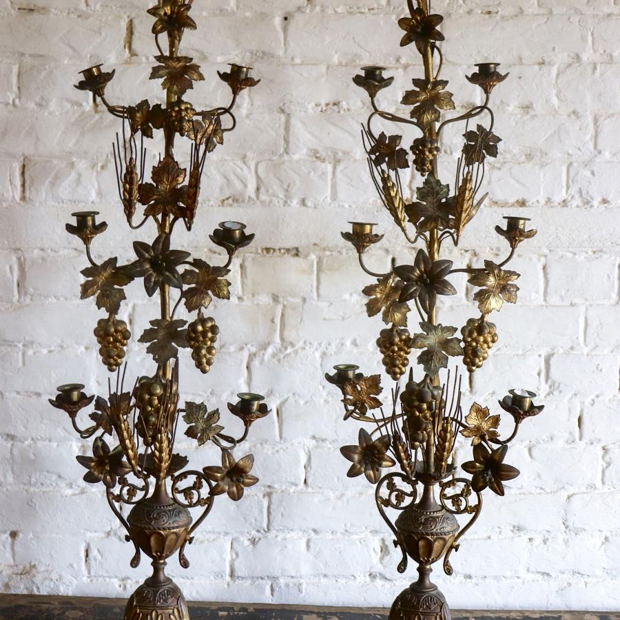 Pair of French floral gilt church candelabra
