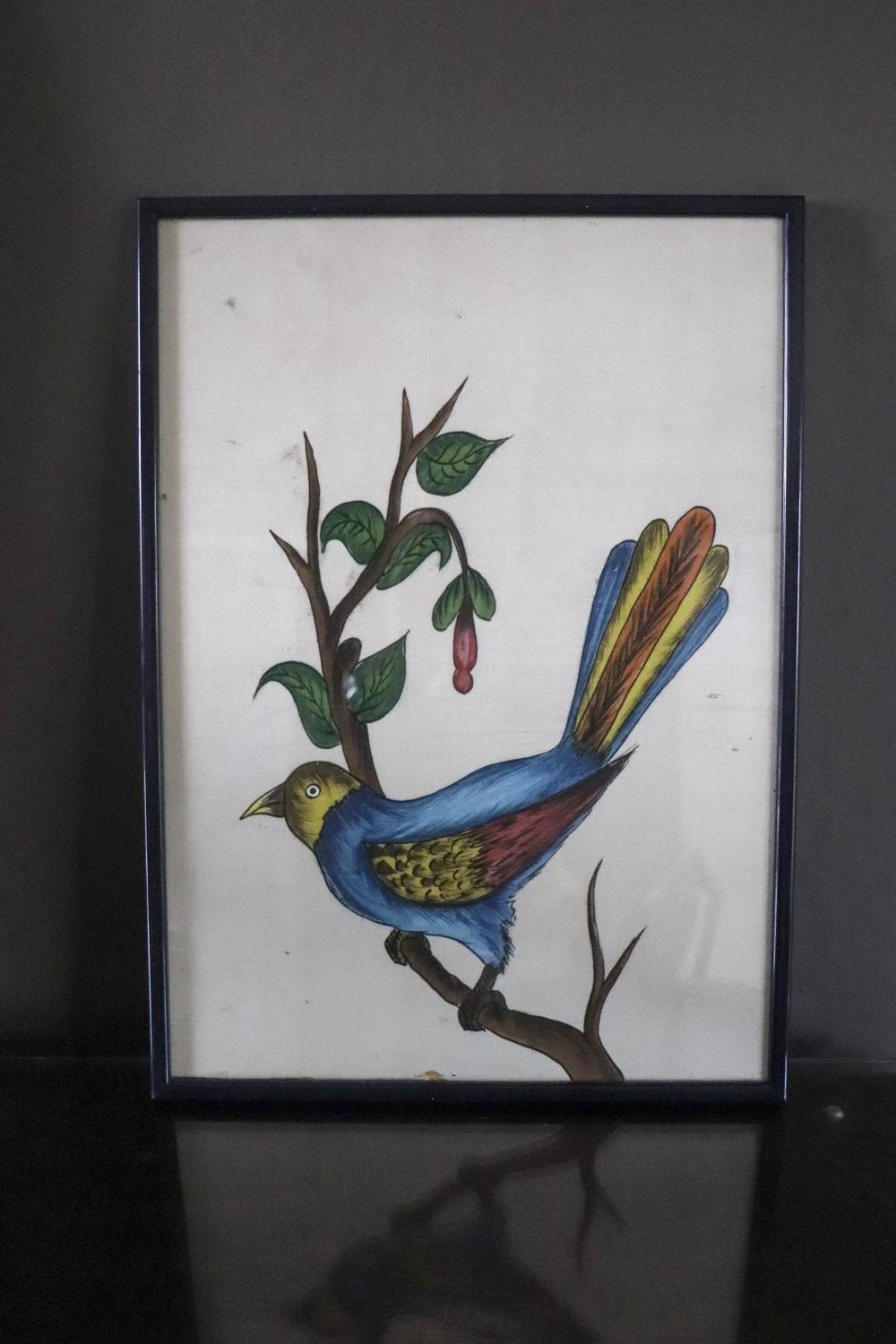 Chinese painting of bird on silk