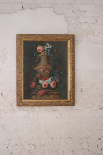 Gilt framed floral French painting