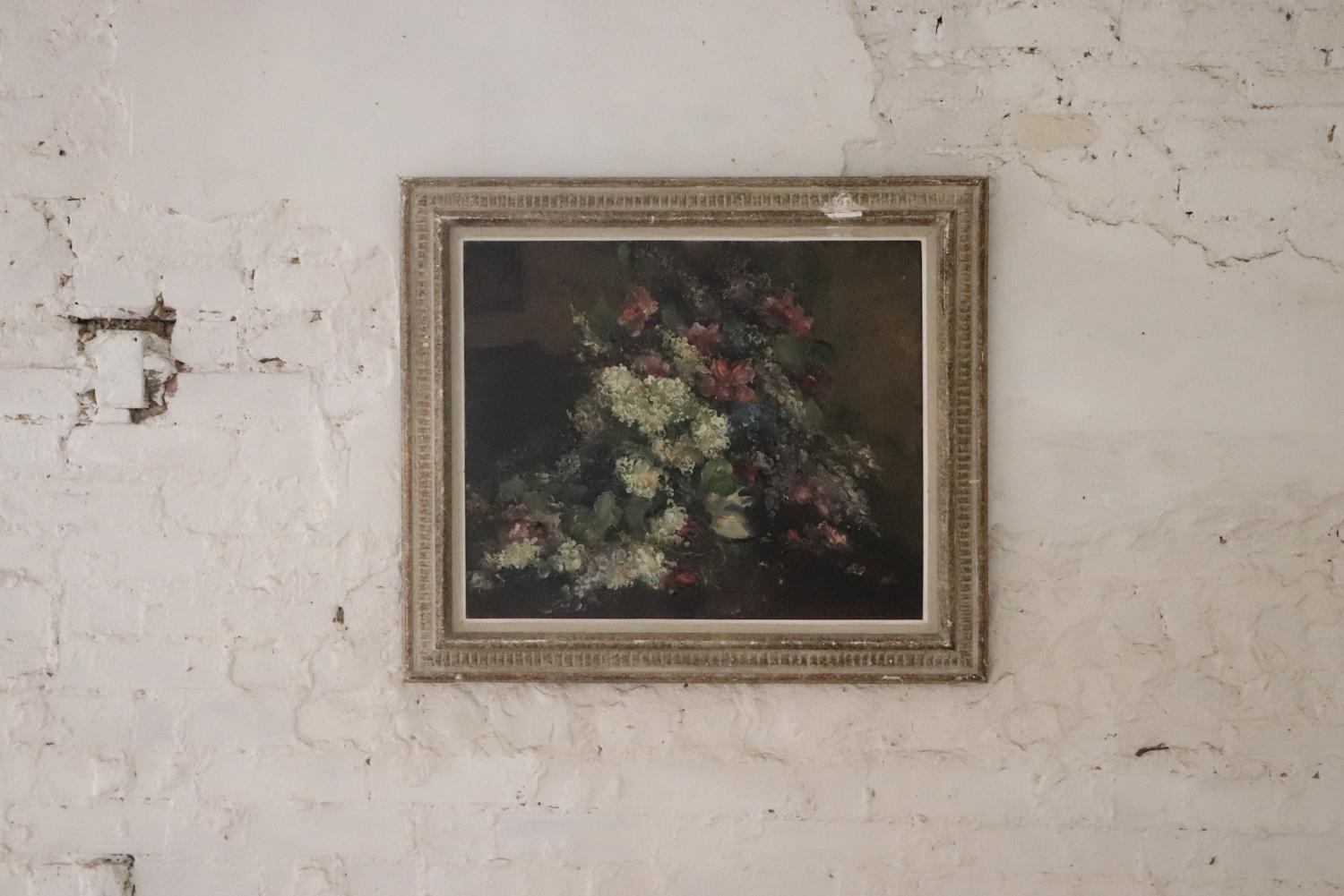 Floral framed French 19th century oil painting