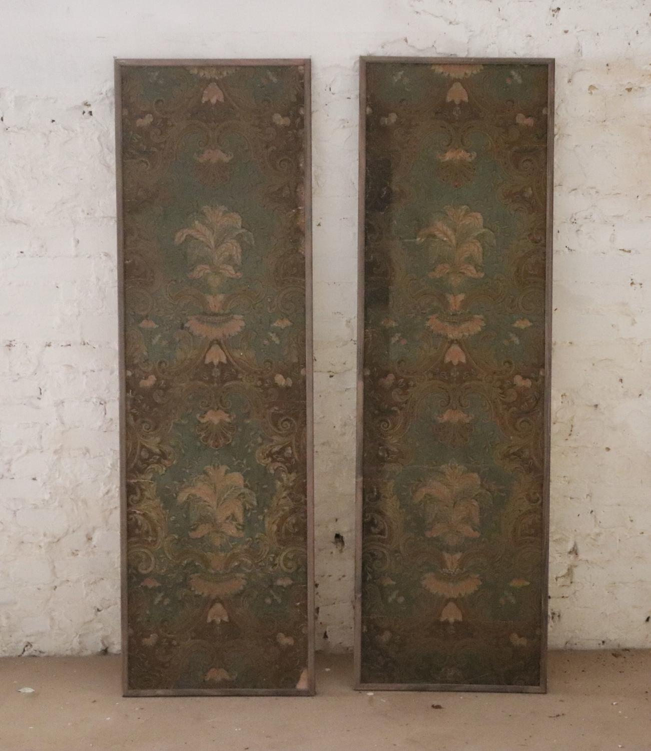 Pair of panels with early 19th century wallpaper