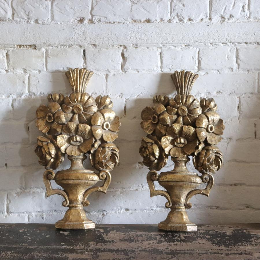 Pair of giltwood carvings