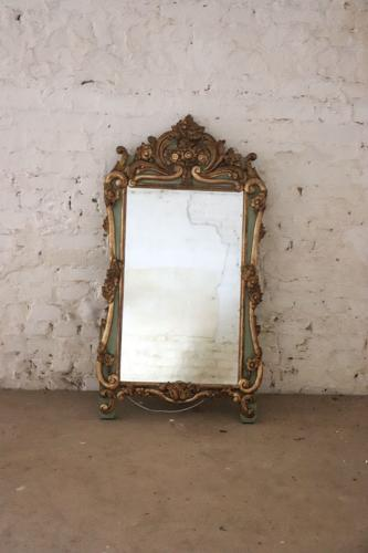 19th century French painted and gilt mirror