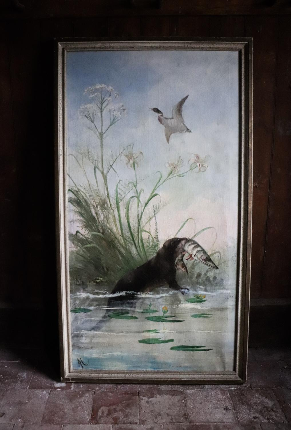 French 19th century painted panel of an otter