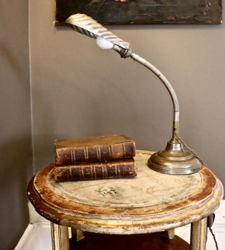 1930s goose neck clam shell lamp