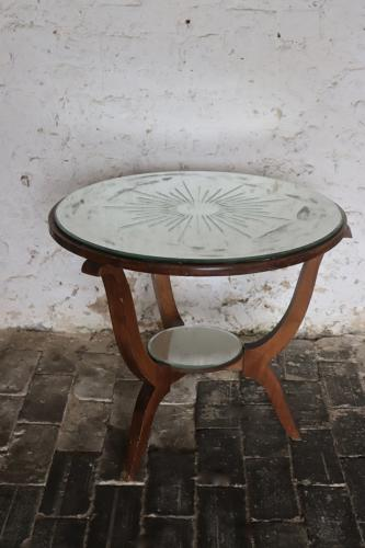 1950s round mirror top side/coffee table
