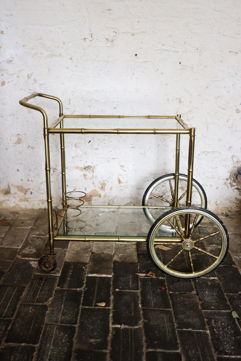 1950s French brass drinks trolley