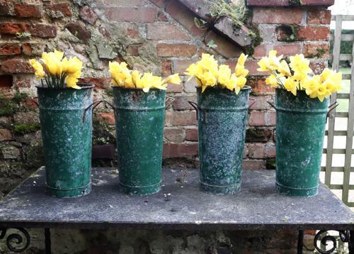 Mid century florist vases with original green paint