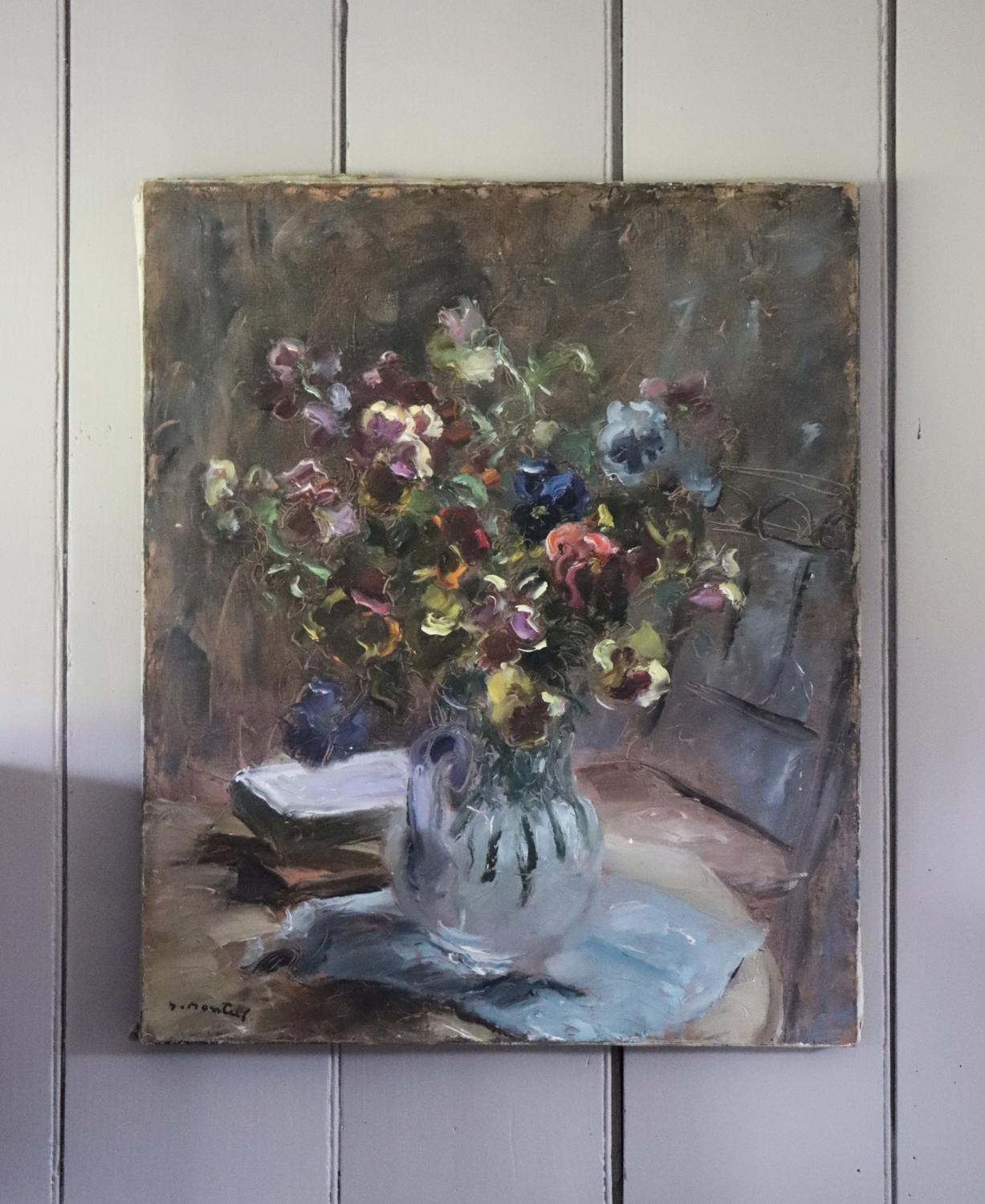 Mid century French oil painting of pansies