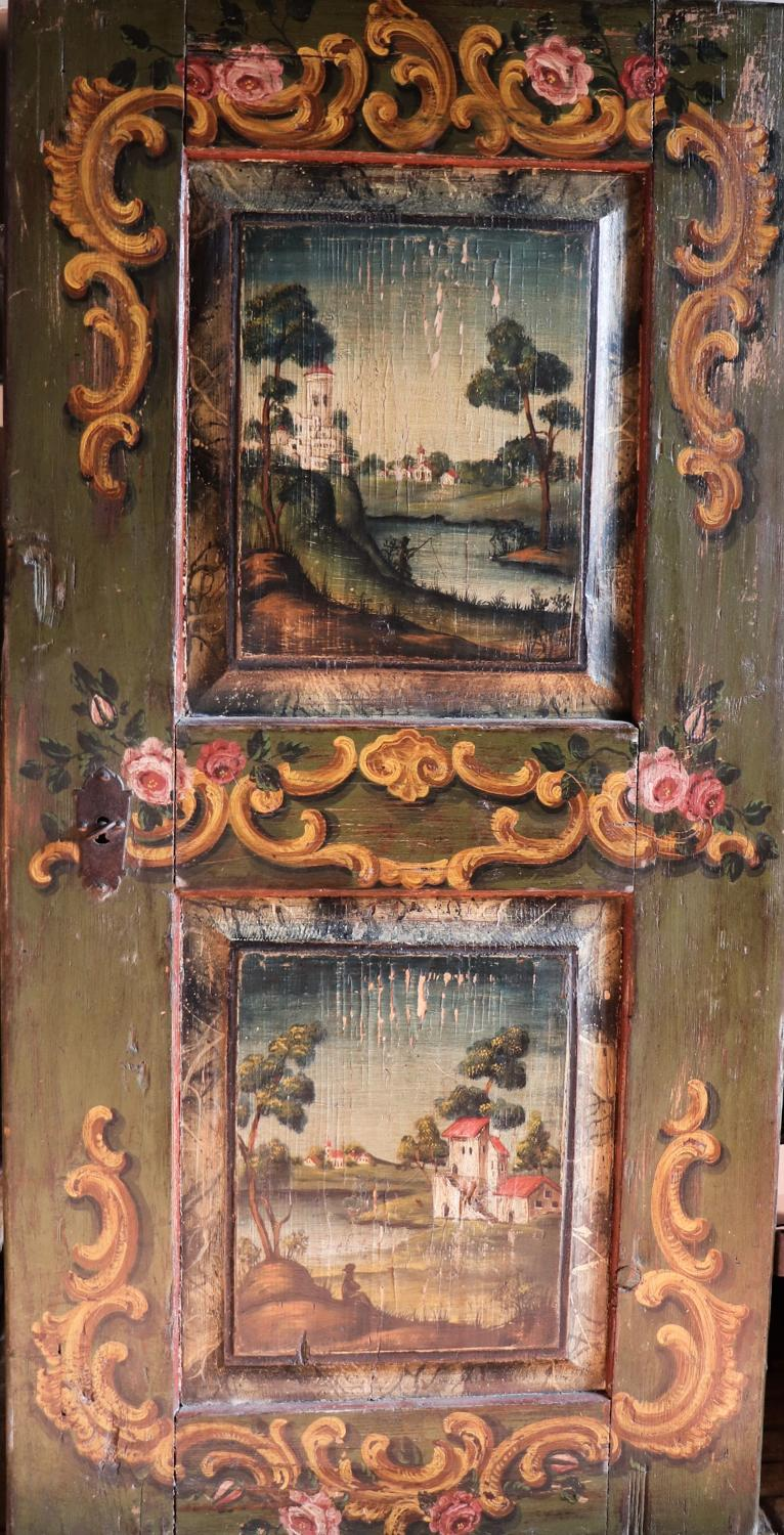 19th century florally painted Austrian cupboard/wardrobe