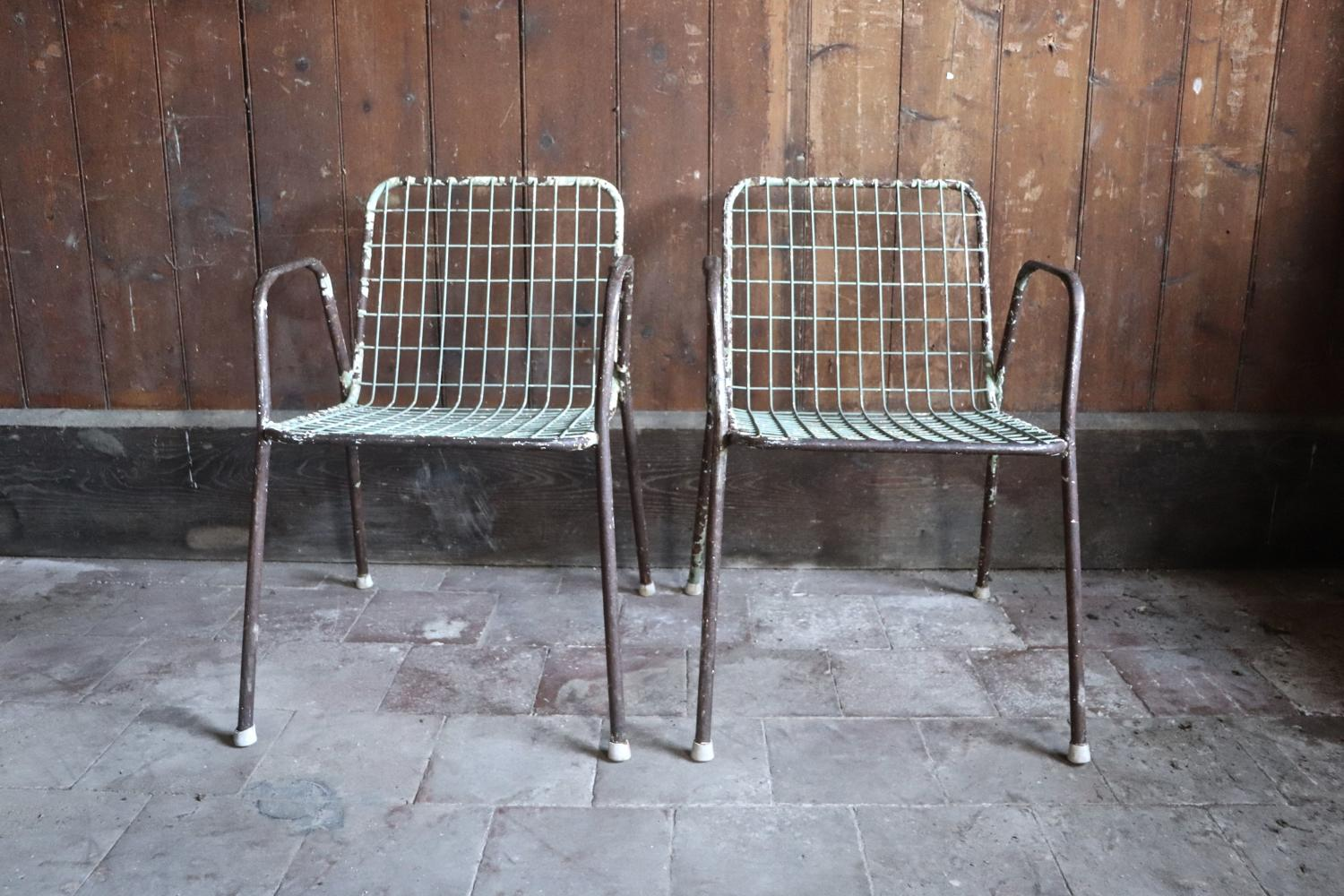 Pair of 1950s French metal garden chairs