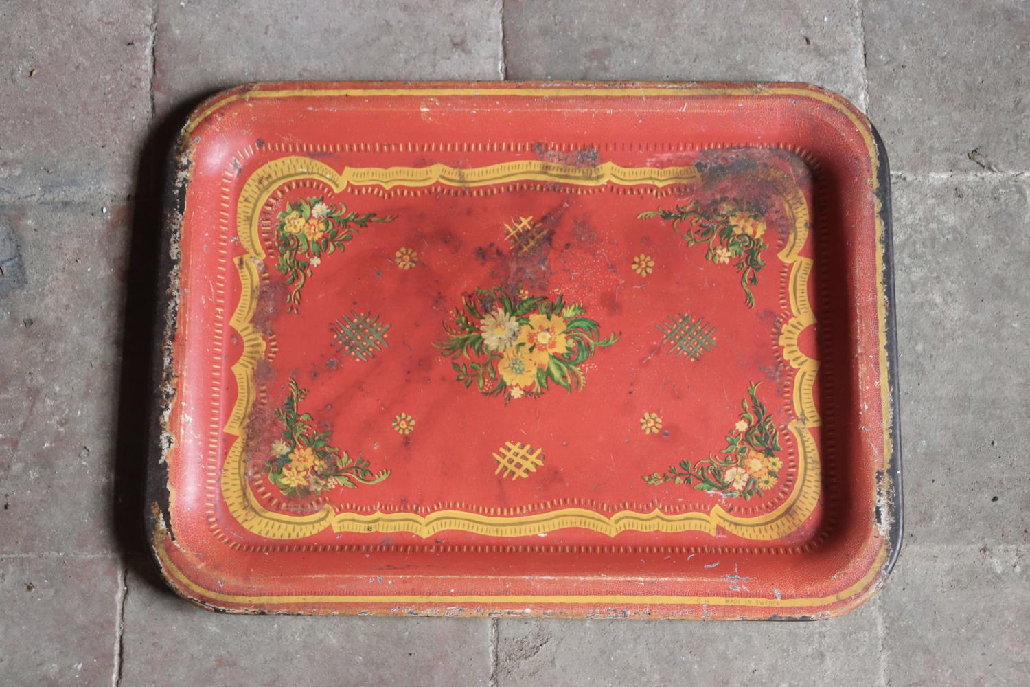 Red floral toleware tray
