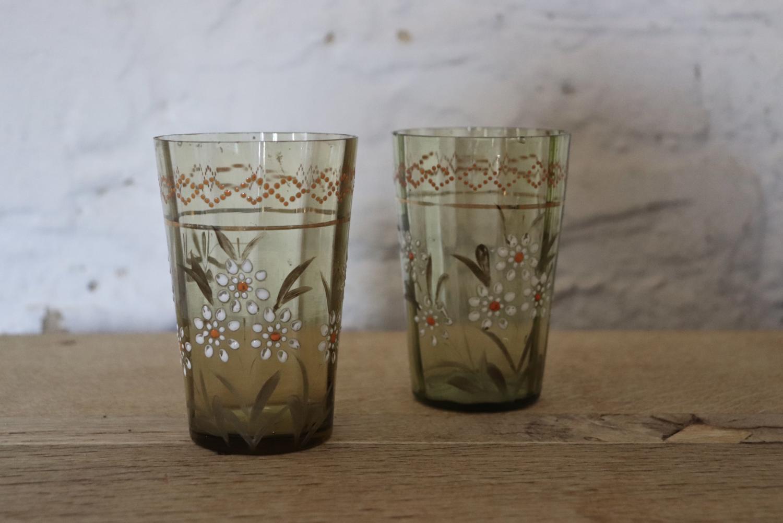 Pair of enamelled Bohemian glasses