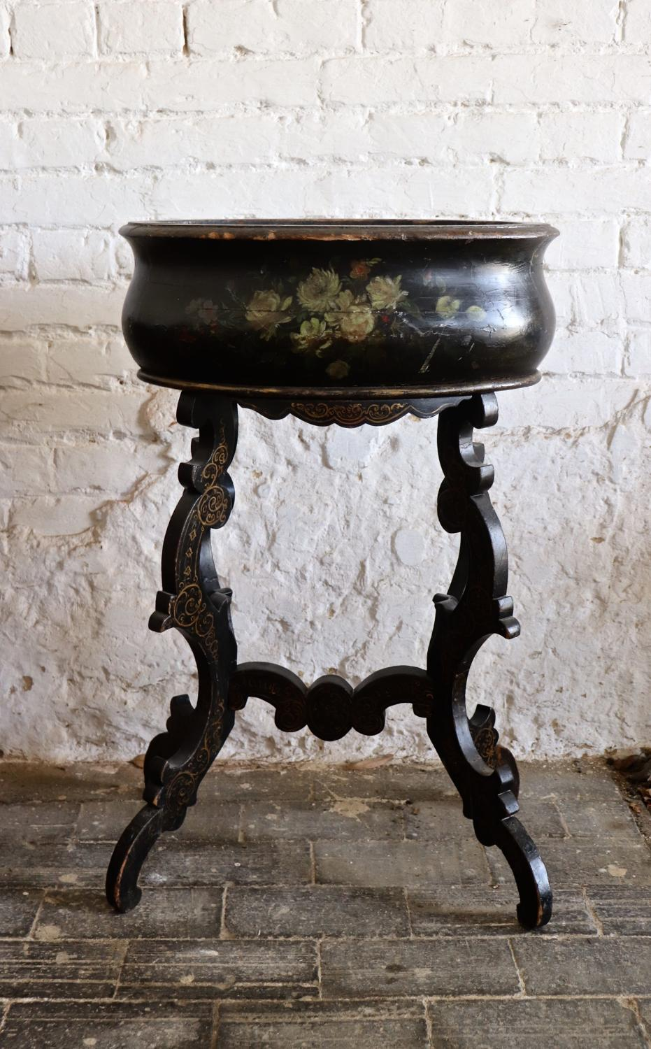 Early 20th century black painted planter