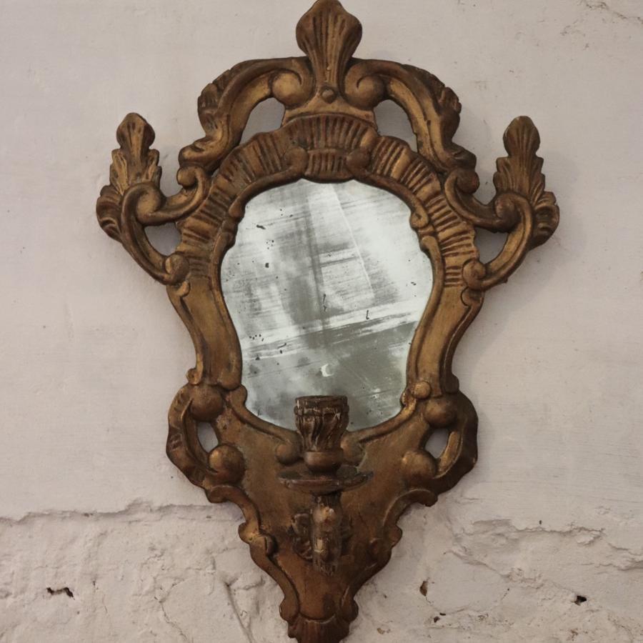 19th century giltwood girandole mirror