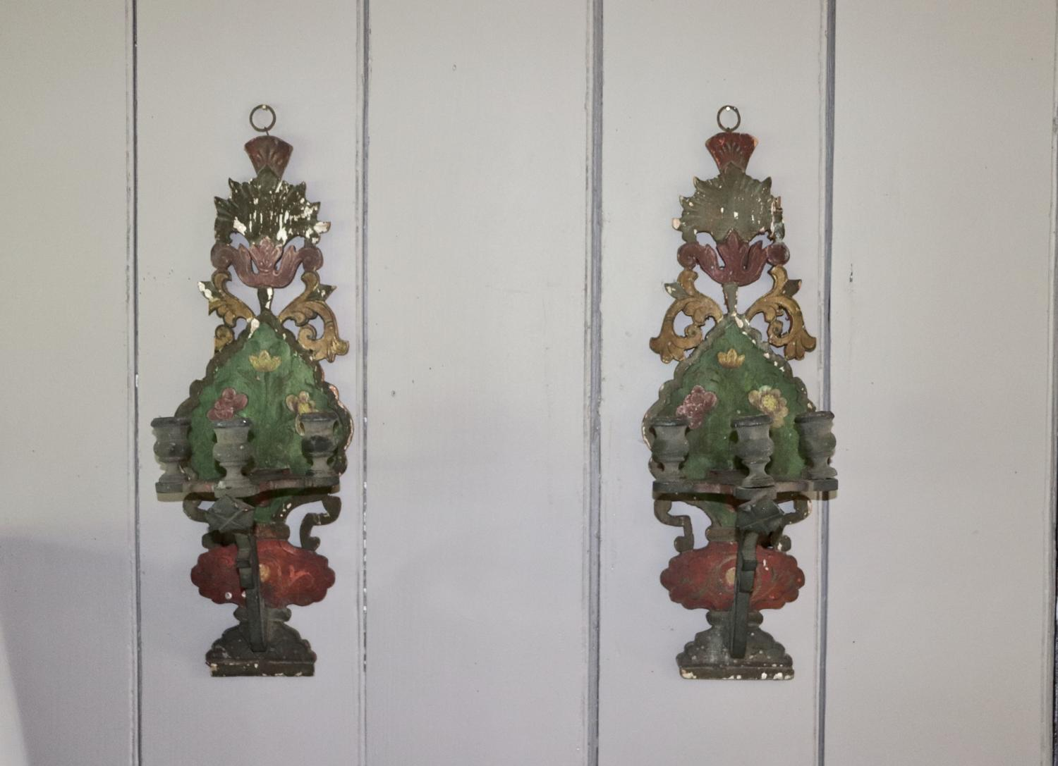 Pair of painted wooden candle sconces