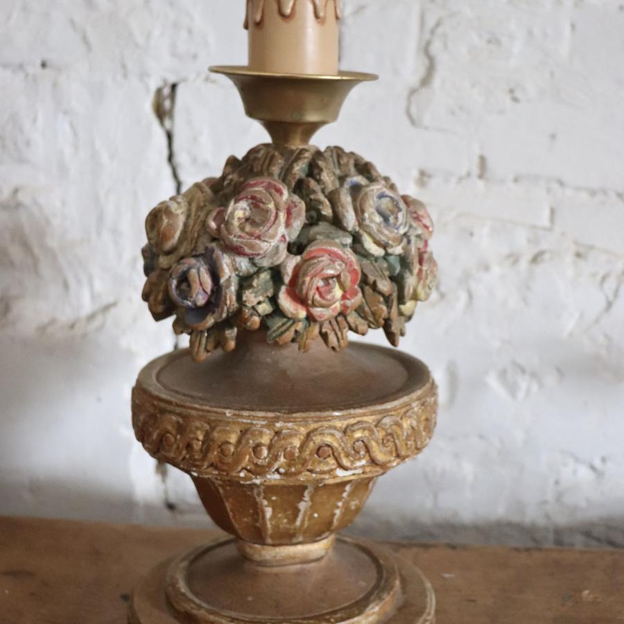 French carved wooden lampbase