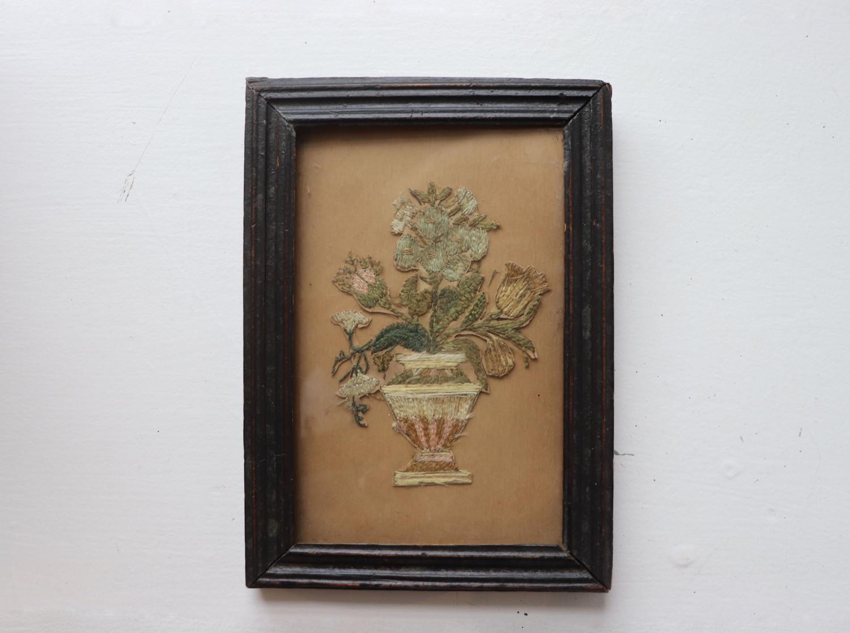 Georgian silk embroidery on card