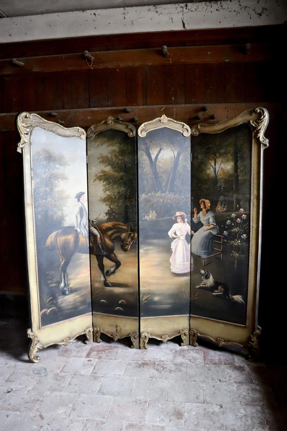 1930s four panelled painted screen