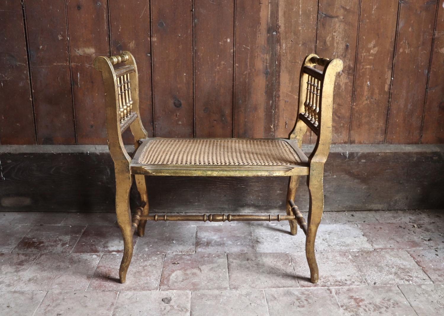 Early 20th century giltwood caned seat
