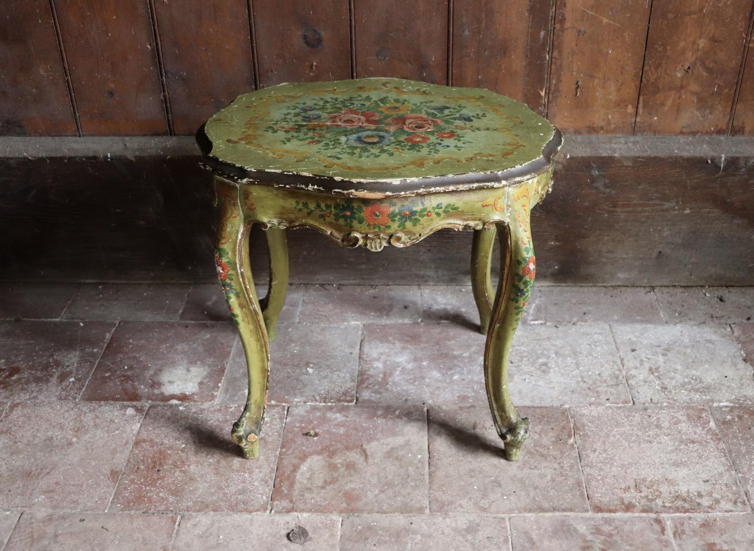 1930s florally painted side table