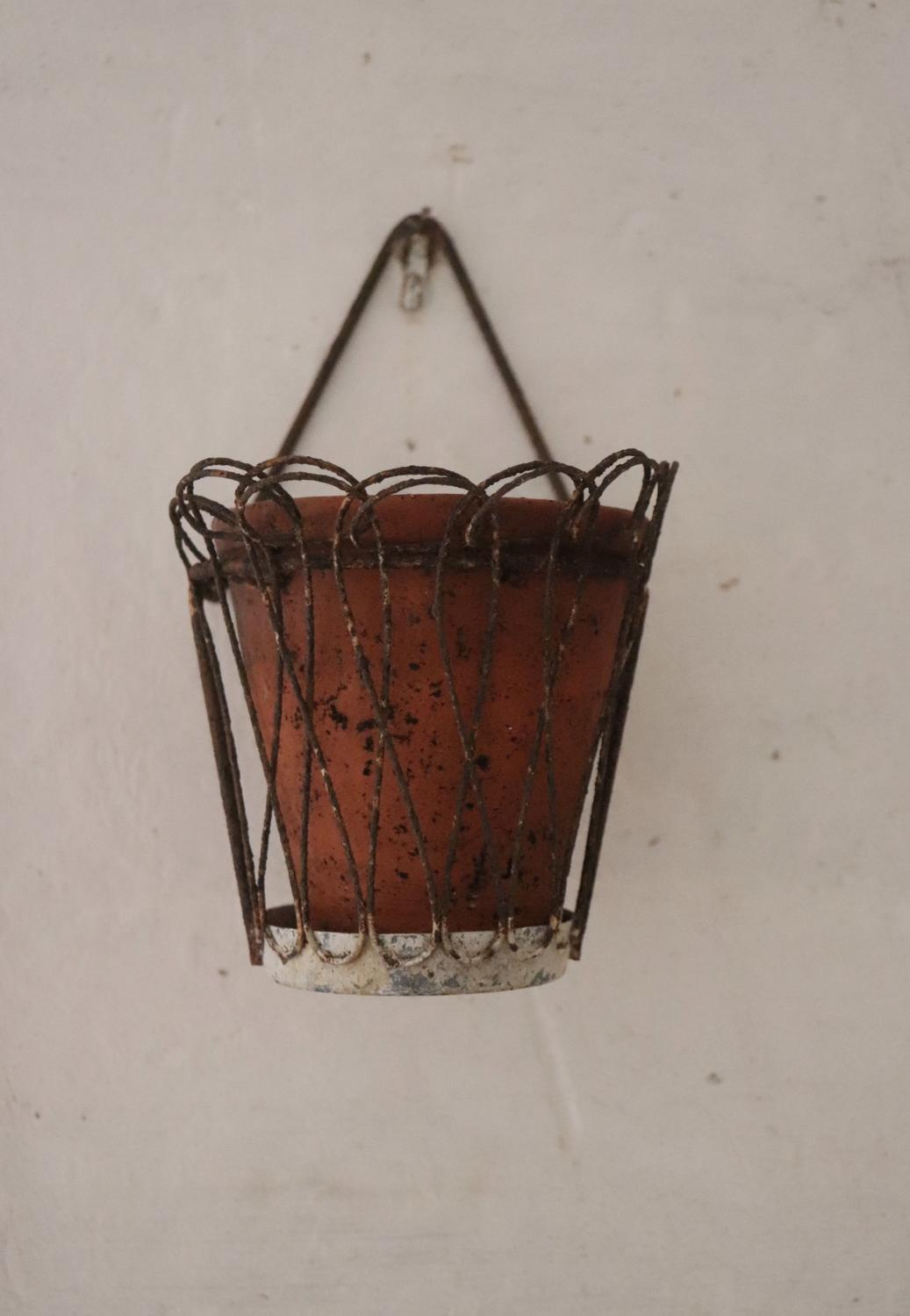 Pair of wirework plant pot holders