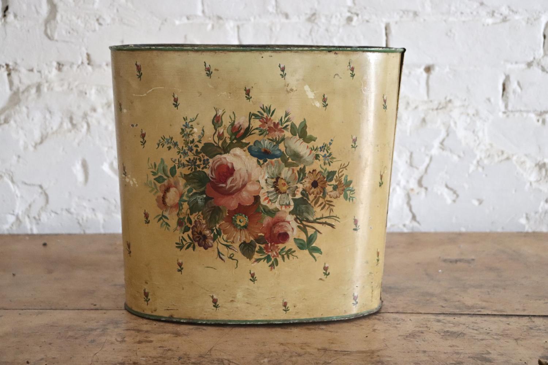 1930s toleware floral bin