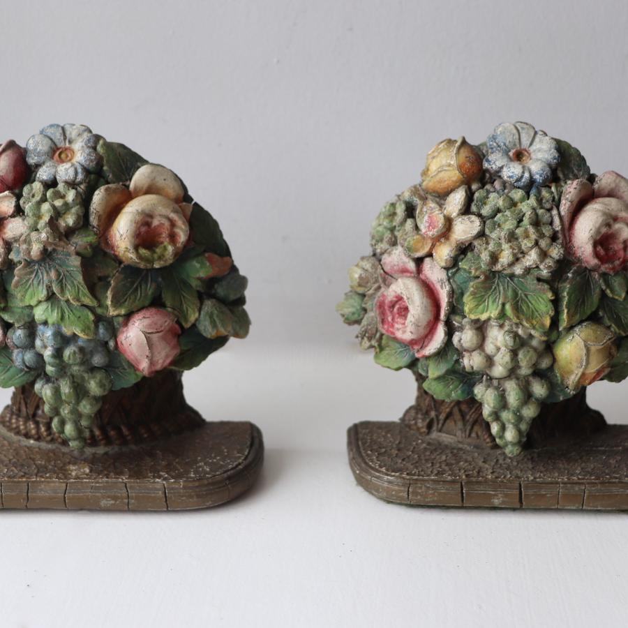 Pair of floral mid century gesso bookends