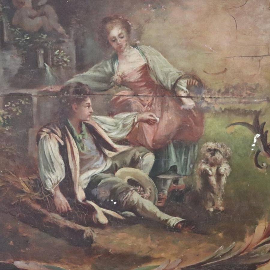Painted wooden panel depicting a boy, girl and dog