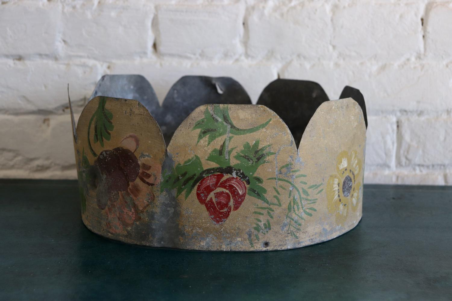 Unusual Swedish zinc painted 'crown'