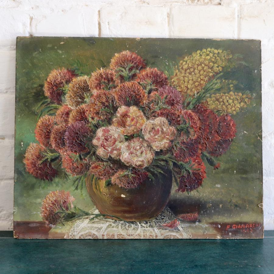 Mid century floral oil on board