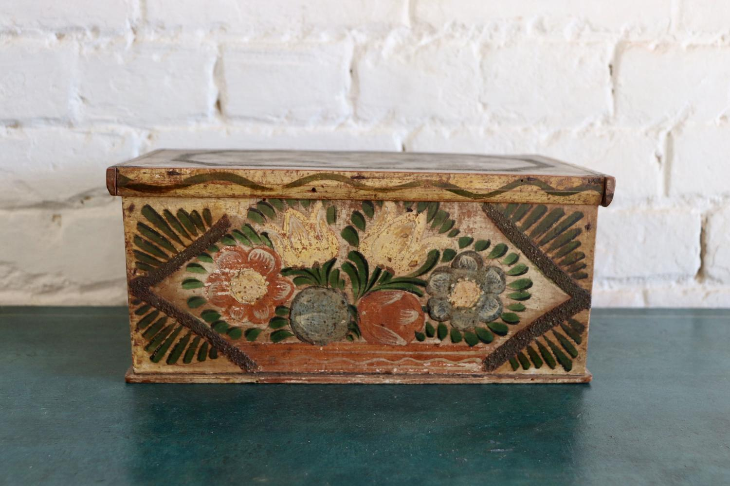 Mid century florally painted Tirolean box