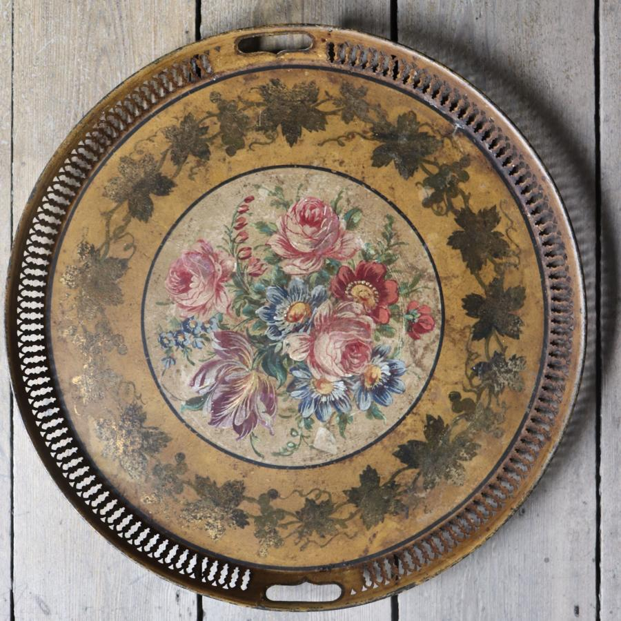 19th century floral toleware tray