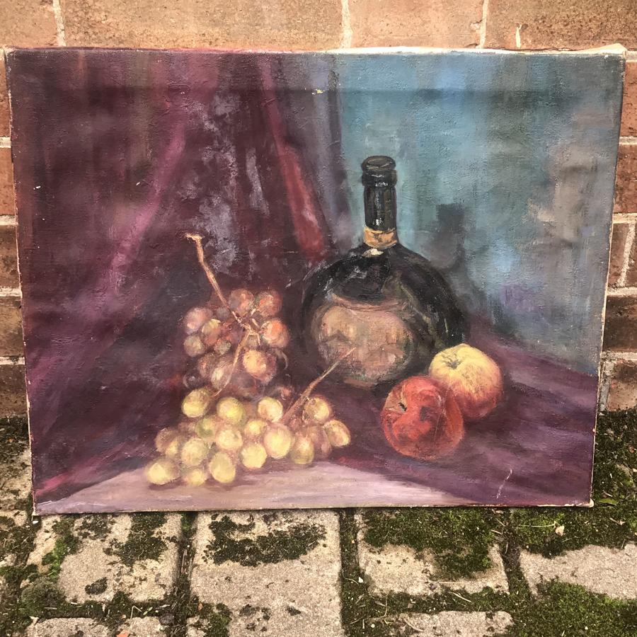 1950s still life oil painting on canvas