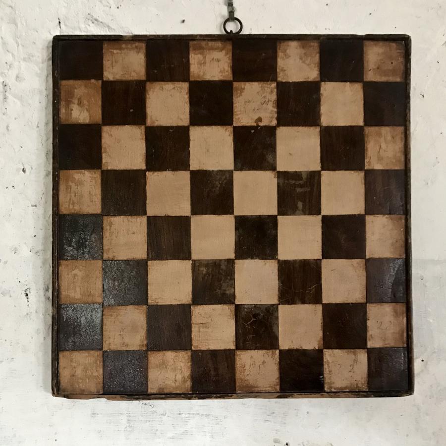 Primitive folk art wood inlay games board