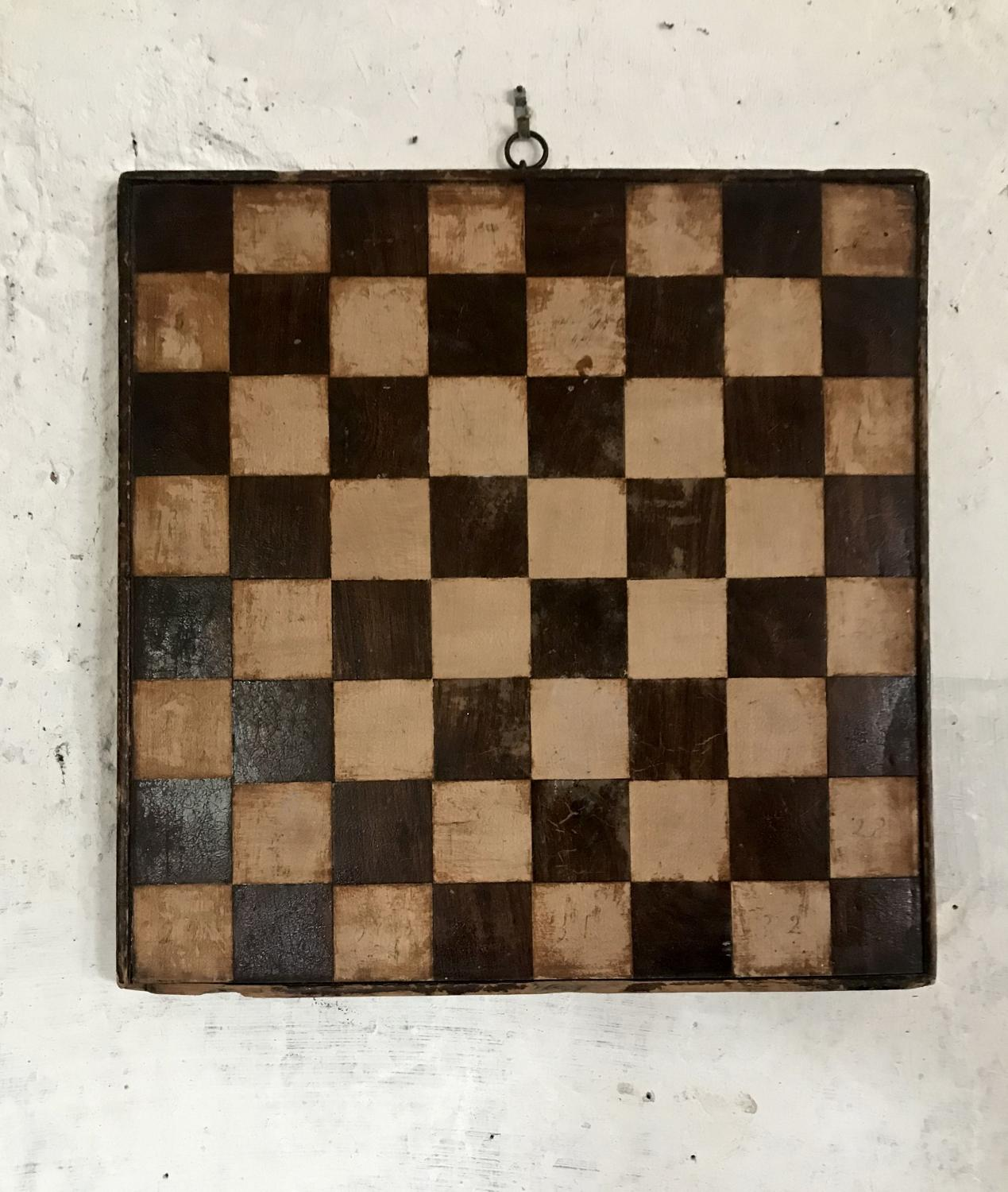 Primitive folk art wood inlay games board