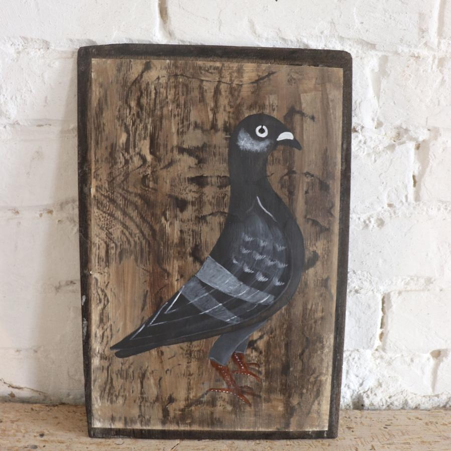 Pigeon painting on wooden board